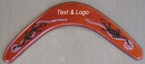 Plywood boomerang with your text & logo on printed Aboriginal design