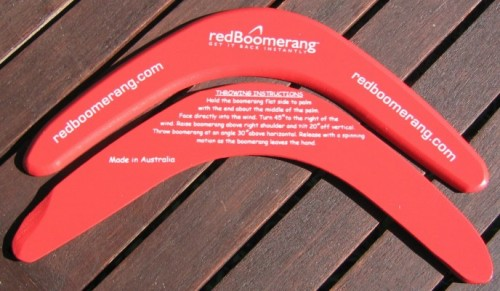 corporate color promotional boomerangs