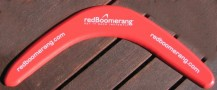 Corporate color plywood boomerang with your text & logo