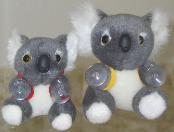 3.5 and 4.5 inch koala toys with suctions on hands (vests are optional)