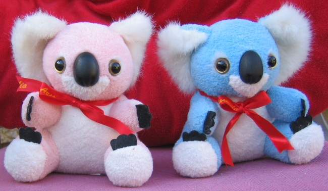 Pink and blue baby koalas are made of combination cotton and polyester material